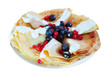 tasty pancakes with berries on white plate