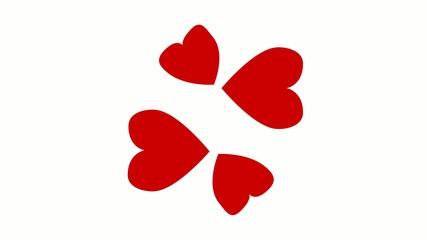 vier Herzen verwandeln sich in Glücksklee