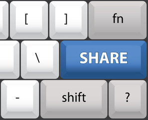 Share key on a computer keyboard - illustration