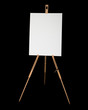 Tripod design easel with canvas isolated on black