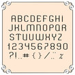 Black  simple font, numbers and punctuation marks