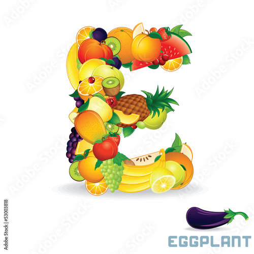 Alphabet From Fruit. Letter E