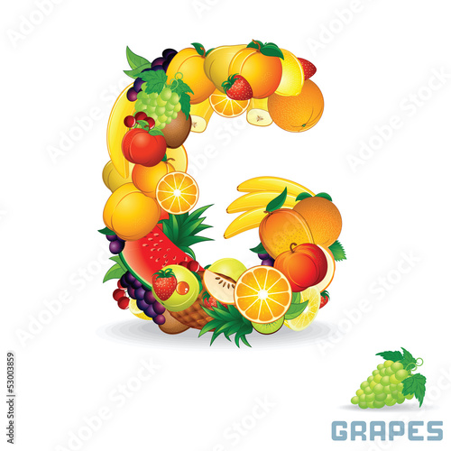 Alphabet From Fruit. Letter G