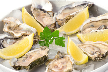 Plate with oysters and lemon on ice closeup.Fresh seafood.