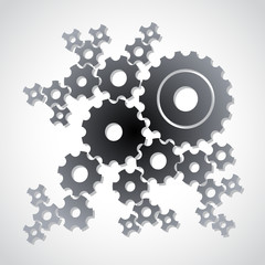 set of cogs (gears) on light background