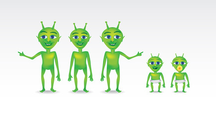 Set of extraterrestrial characters, illustration