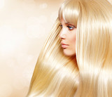 Fototapety Blond Hair. Fashion Girl With Healthy Long Smooth Hair