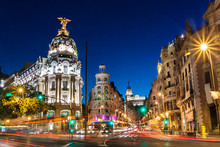 Gran Via in Madrid, Spain, Europe.
