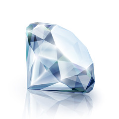 Diamond with reflection isolated on white - eps10