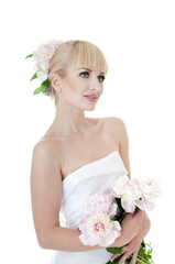Beautiful sensual bride over white background.