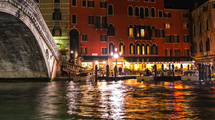 Rialto bridge in Venice at night, Italy
