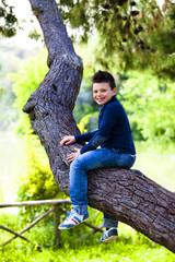 Bambino allegro seduto sull'albero