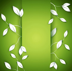 vector background with twigs and leaves on the green background