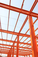 Unfinished steel structure buildings in a factory, north china