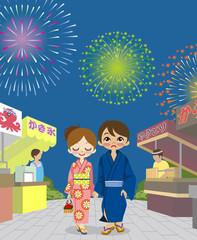 Couple enjoying summer festival in japan