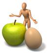 Apfel und Ei Figur auf weiss