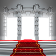 Red carpet way to the light portal.