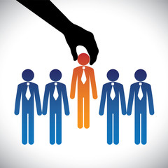 Concept vector graphic- hiring(selecting) the best job candidate