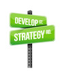 develop strategy road sign illustration