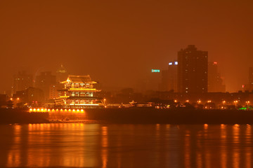 Orange Chau Tau at night, Changsha City, Hunan Province, China