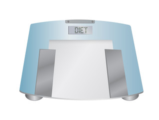 The word diet on a weight scale, illustration