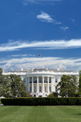 White House over deep blue cloudy sky