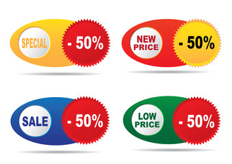 Labels - sale, new price, low price, special. Vector