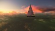 Camera around a sailboat on the ocean with a beautiful sunset