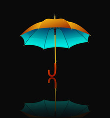 vector umbrella with reflection on black background