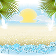 seaside summer holiday background with palm,umbrella, sunglasses