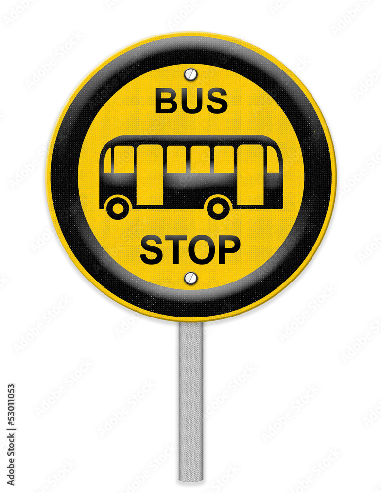 Bus stop sign on post pole wall sticker