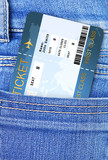 air ticket in jeans trousers pocket