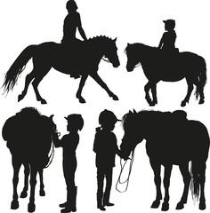 four happy child with a pony