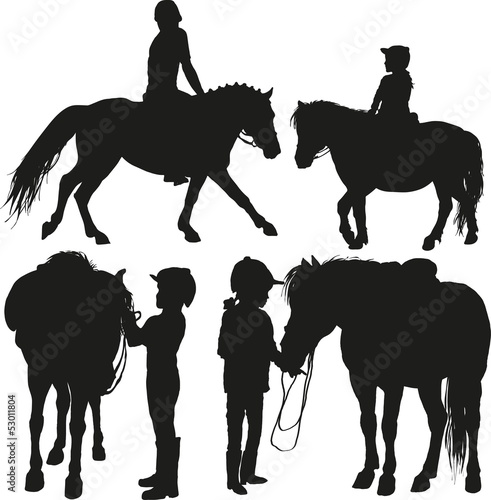 four happy child with a pony
