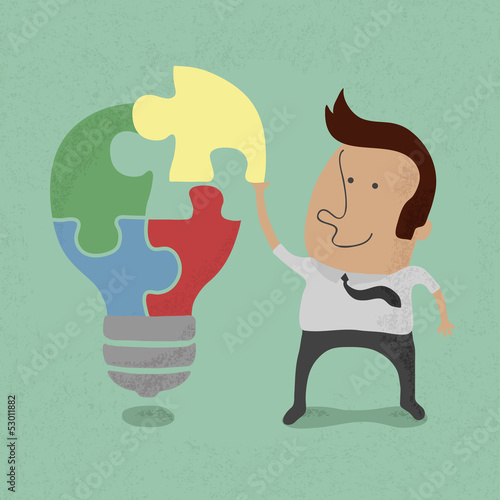 Businessman idea assembly , eps10 vector format
