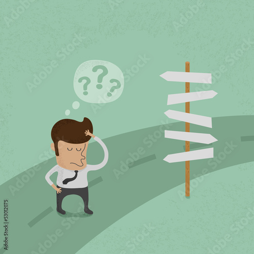 Businessman do not know where to go , eps10 vector format