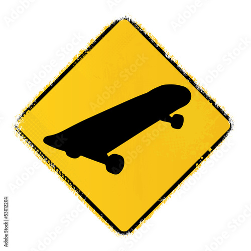 skateboard warning sign