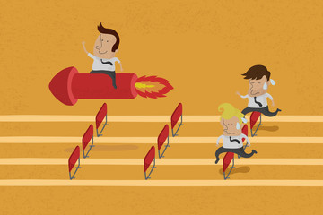 Business persons reaching the goal in a race , eps10 vector form