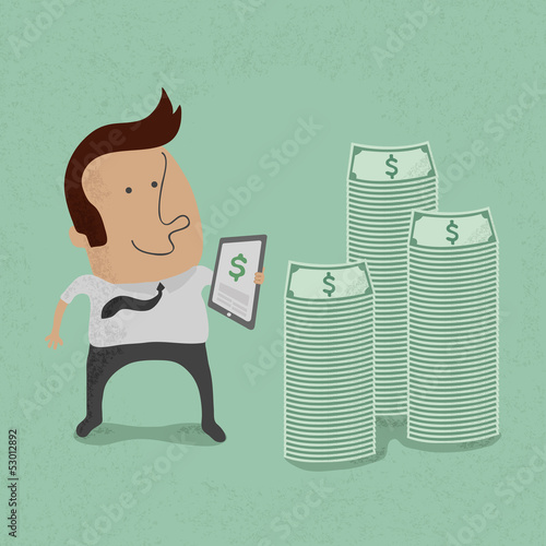 Business man making money with tablet concept , eps10 vector for