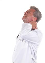 Arzt mit Schmerz Burnout krank