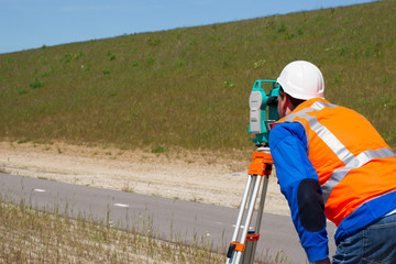 Engineer and Total station or theodolite