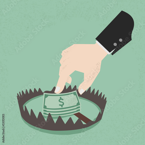 Money trap with hundred dollars, eps10 vector format