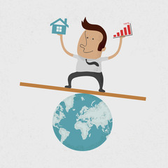 Business man handing Graph over and home on earth , eps10 vector