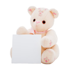 Teddy bear with a blank card