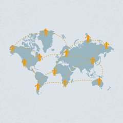 Social media people communication on the world map . eps 10 vect