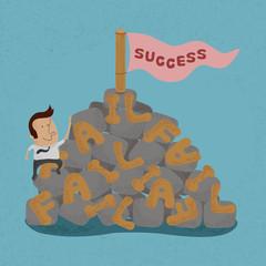 Businessman moving over the Failure go to success , symbolizing