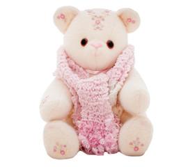 Winter teddy bear wearing a scarf