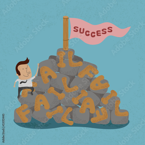 Businessman moving over the Failure go to success , symbolizing