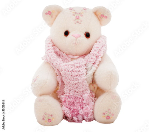 Winter teddy bear wearing a scarf