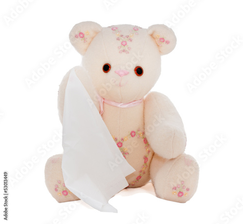 Teddy bear holding, waving or offering a facial tissue